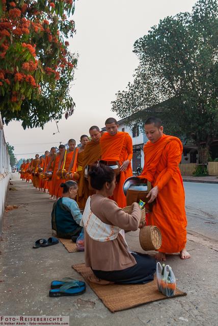 Laos - Luang Prabang - Mönche erhalten ihr Speisung von Gläubigen © Volker Abels - www.foto-reiseberichte.com.jpg