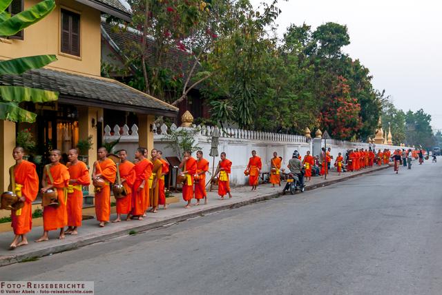 Luang Prabang - Laos - Mönche stellen sich auf um die Mönchsspeisung zu empfangen © Volker Abels www.foto-reiseberichte.com
