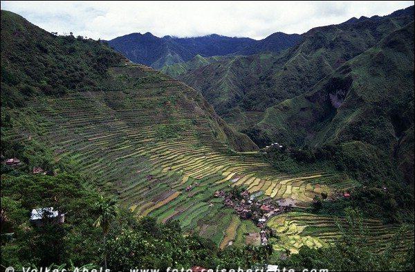 Blick auf das Dorf Batad, inmitten der grandiosen Reisterassen, umschlossen von zwei Bergketten der Cordillera, Luzon - Philippinen © Volker Abels