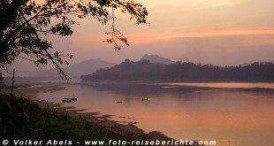 Sonnenuntergang am Mekong in Luang Prabang in Laos © Volker Abels