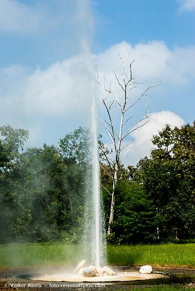 Heißen Quellen von San Kamphaeng, Geysir mit aufsteigender Wasserfontaine  - © Volker Abels - www.foto-reiseberichte.com