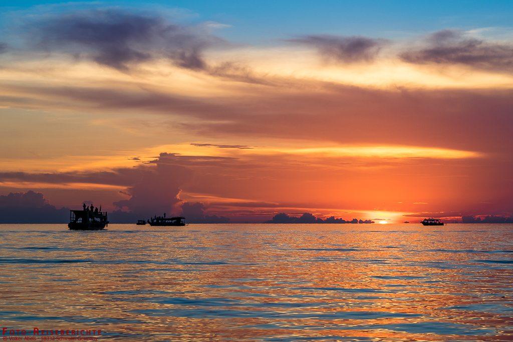Sonnenuntergang am Tonle Sap in Kambodscha