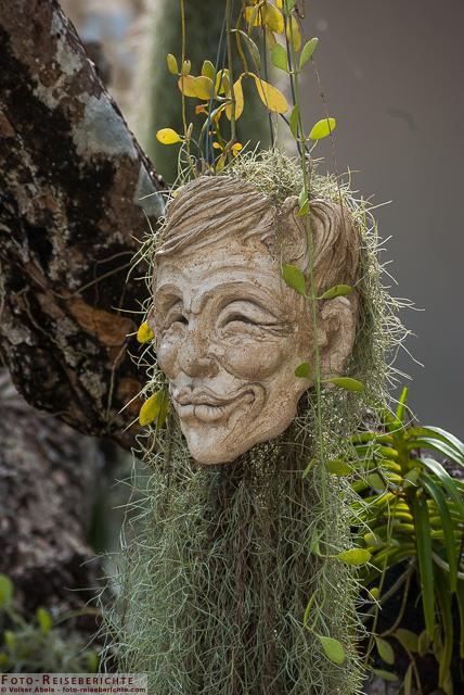 Hängender Kopf mit Pflanzen. WeißerTempel Chiang Rai-Thailand © Volker Abels - www.foto-reiseberichte.com
